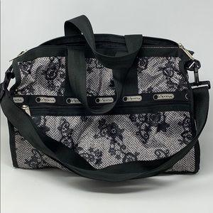 LeSportsac Beige/Black Floral Medium Weekend Bag